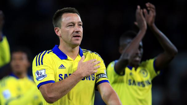 John Terry scored Chelsea's second as they fought back from a goal down to beat Leicester