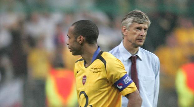 Arsene Wenger, right, believes former Gunners captain Thierry Henry, left, is wrong about the strength of his squad