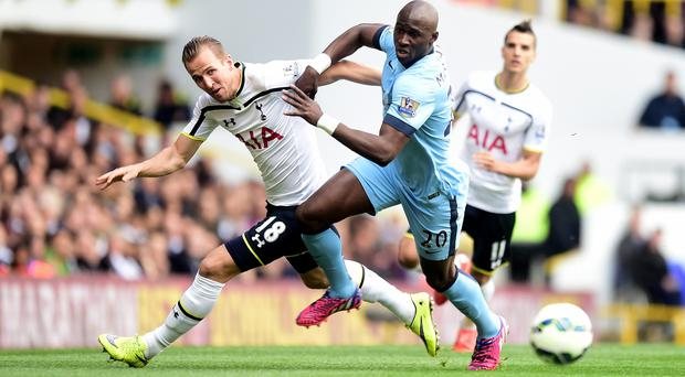 Eliaquim Mangala, front right, has endured a tough first season at Manchester City