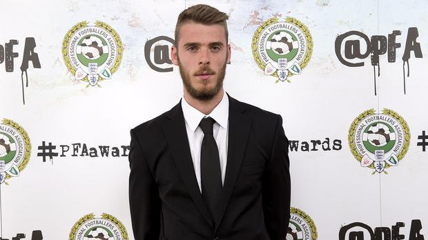 David De Gea was honoured for his displays at the PFA Awards in London on April 26