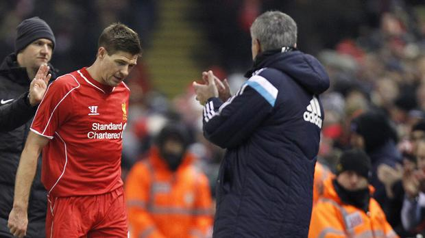Jose Mourinho, right, is looking forward to facing Steven Gerrard, left, one last time