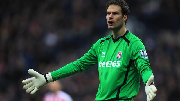 Stoke manager Mark Hughes insists goalkeeper Asmir Begovic, pictured, still has a future at the club