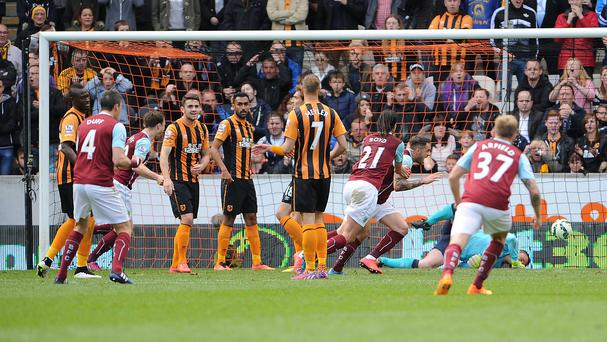 Danny Ings, second from right, scored the game's only goal at the KC Stadium