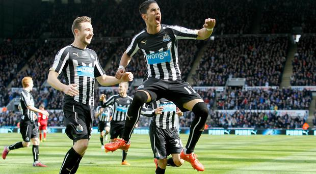 Ayoze Perez, right, scored as Newcastle earned their first point since February