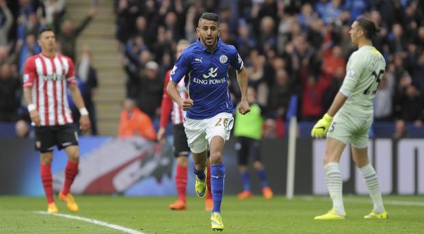 Riyad Mahrez scored twice as Leicester took another step towards survival