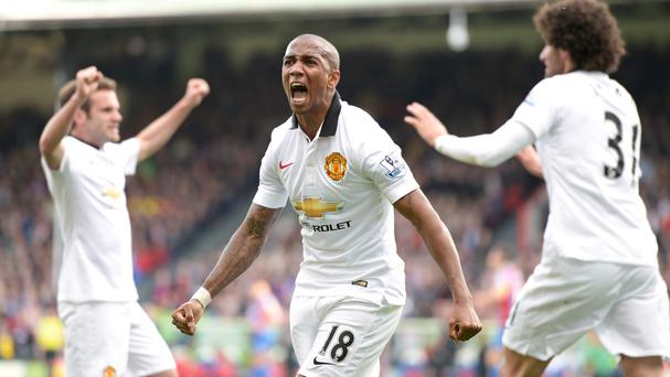 Ashley Young, centre, has impressed for Manchester United this season
