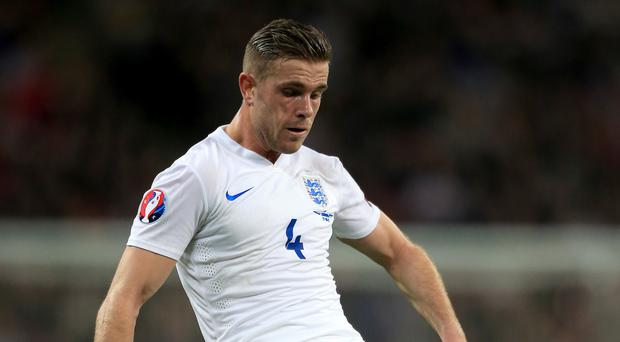 England midfielder Jordan Henderson playing against Lithuania at Wembley in March