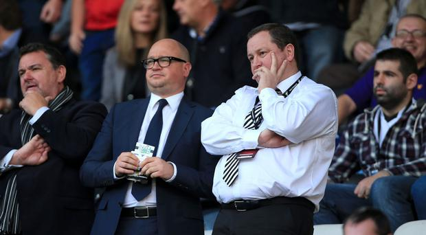 Newcastle owner Mike Ashley (right) and chief executive Lee Charnley are still awaiting a summer transfer breakthrough