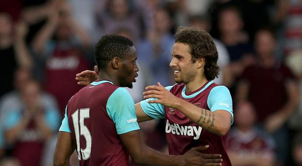 Diego Poyet, right, is hoping for more outings for West Ham this season