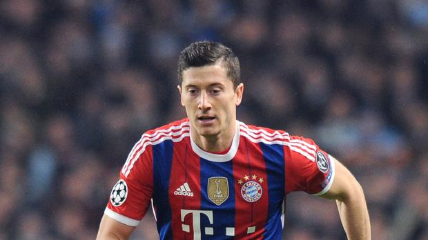 Bayern Munich's Robert Lewandowski playing against Manchester City last season
