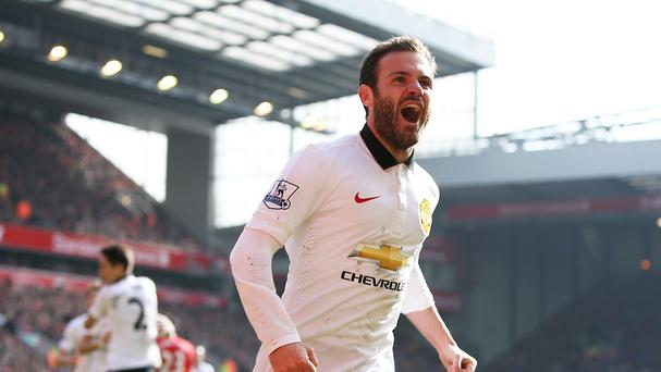 Juan Mata after scoring his stunning goal against Liverpool last season