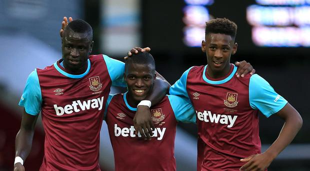 Enner Valencia, pictured centre, does not require surgery on a recent injury