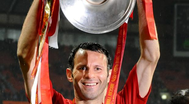 Ryan Giggs celebrating United's Champions League final win over Chelsea in 2008