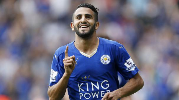 Riyad Mahrez's double inspired Leicester to victory in Claudio Ranieri's first game as manager.