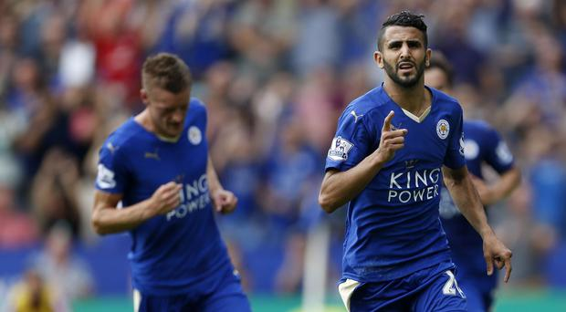 Leicester's Riyad Mahrez, right, bagged two in their comfortable win over Sunderland.