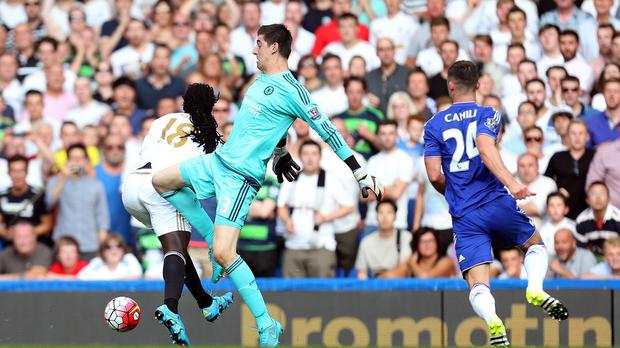 Gary Cahill, right, felt Thibaut Courtois' sending off was the turning point