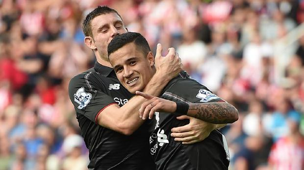 James Milner, left, was impressed by Philippe Coutinho's, right, winner for Liverpool at Stoke