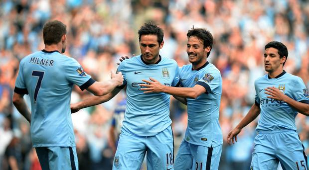 Manchester City's Frank Lampard celebrations are low key after scoring against his old club Chelsea last September