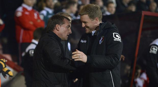 Eddie Howe, right, counts Brendan Rodgers as an inspiration