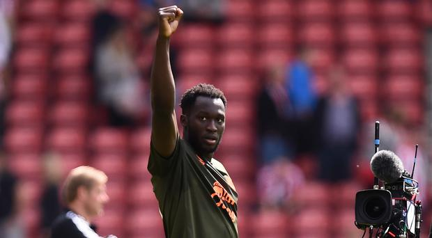 Everton's Romelu Lukaku acknowledges supporters after the Barclays Premier League match at Southampton