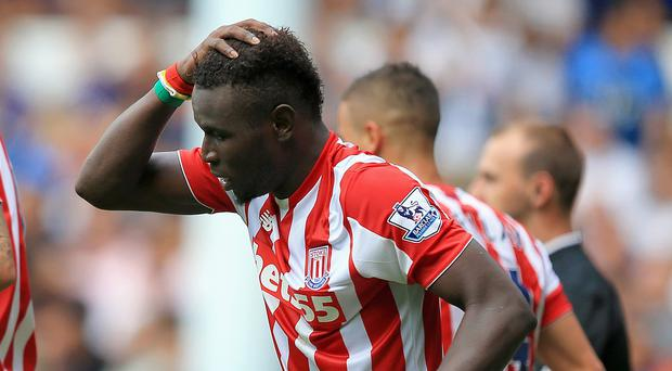 Mame Biram Diouf celebrates after scoring the equaliser for Stoke