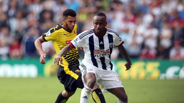 Saido Berahino, right, missed West Brom's best chance at Vicarage Road