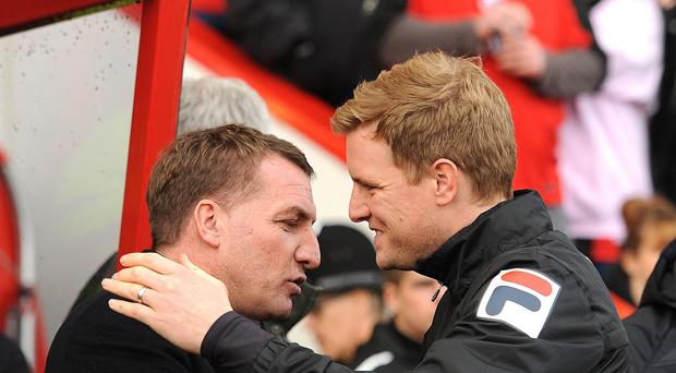 Eddie Howe (right) is a fan of Brendan Rodgers (left)