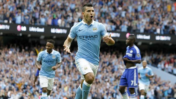 Sergio Aguero netted in Manchester City's win