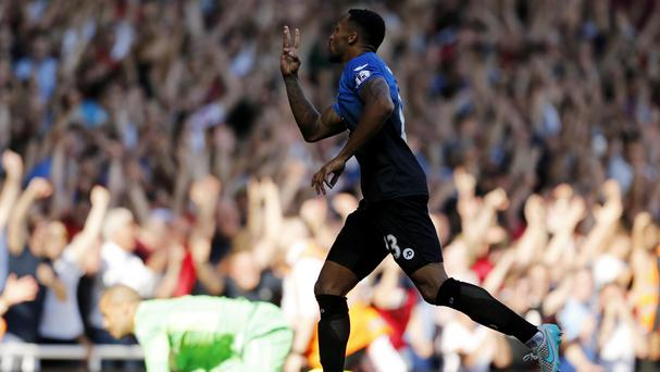 Bournemouth's Callum Wilson celebrates scoring his team's fourth goal and completes his hat-trick during the Barclays Premier League match at Upton Park, London.