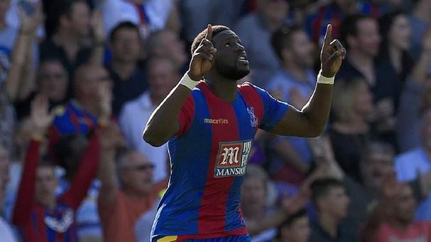 Bakary Sako celebrates his goal against Aston Villa
