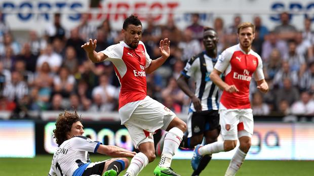 Newcastle's Fabricio Coloccini, left, scored an own goal against Arsenal