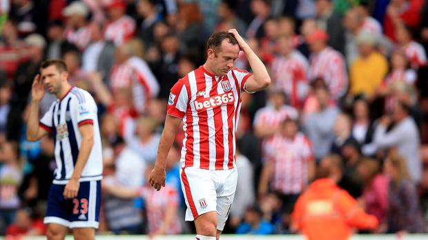 Charlie Adam was one of two men sent off for Stoke against West Brom