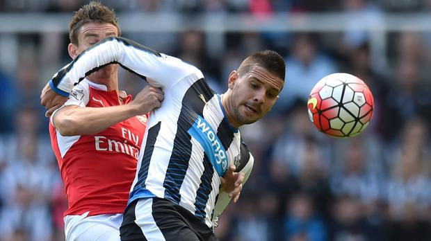 Aleksandar Mitrovic, pictured, was unfortunate to be sent off, according to Steve McClaren