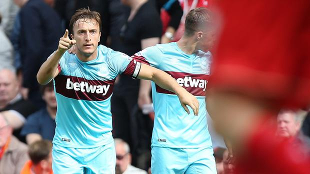 West Ham captain Mark Noble has had the red card he received against Liverpool rescinded