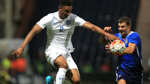 Joe Gomez, left, made his England Under-21 debut on Thursday