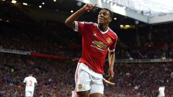 Anthony Martial celebrating his first Manchester United goal on Saturday against Liverpool