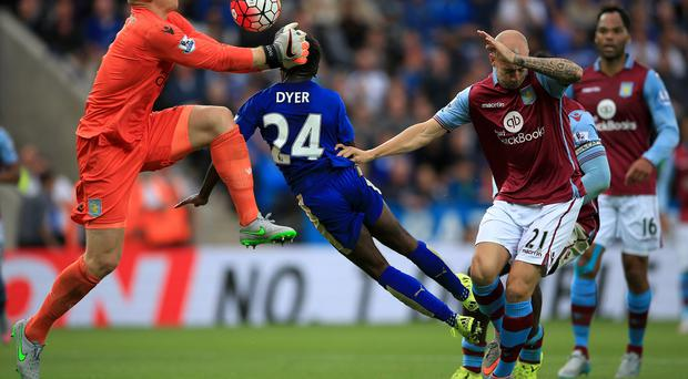 Nathan Dyer's brave header won the points for Leicester