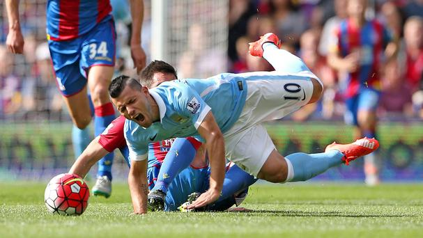 Sergio Aguero was injured during City's 1-0 win at Crystal Palace