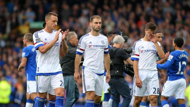 Chelsea and Branislav Ivanovic, centre, slumped to another defeat at Everton