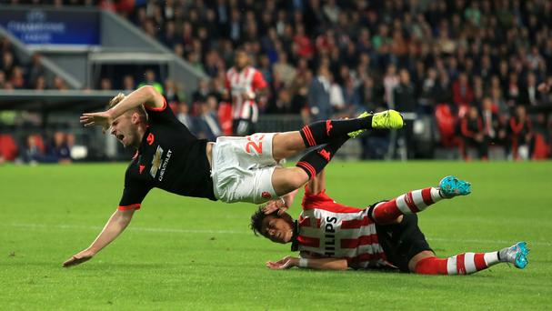 Manchester United's Luke Shaw suffered a serious injury against PSV Eindhoven