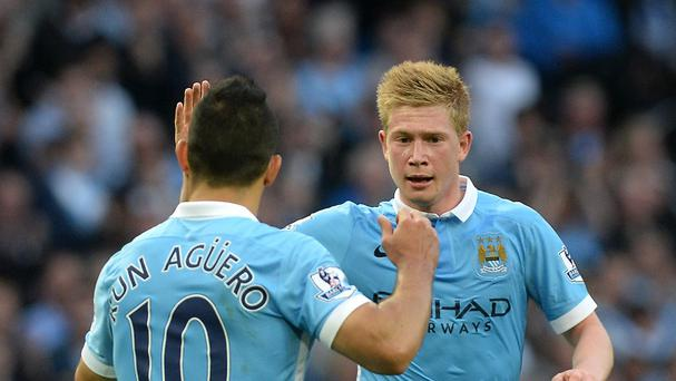 De Bruyne (right) celebrates his first goal for City