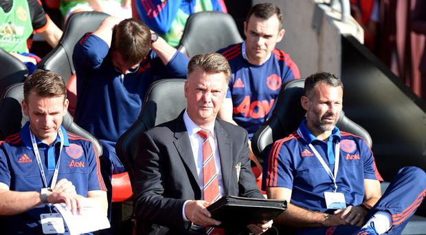 Manchester United boss Louis van Gaal, centre, saw his side win 3-2 at Southampton on Sunday.