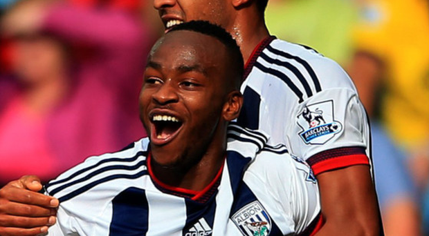 On target: Saido Berahino scores winner for West Brom