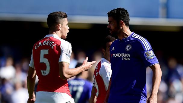 Arsenal's Gabriel and Chelsea's Diego Costa square up at Stamford Bridge