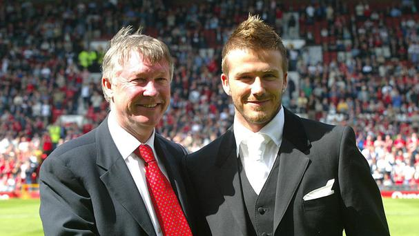 Sir Alex Ferguson, left, turned many players into stars, including David Beckham, right