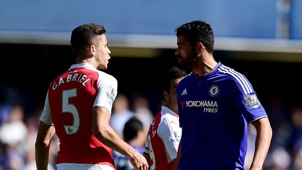 Arsenal defender Gabriel (left) clashed with Chelsea forward Diego Costa at Stamford Bridge