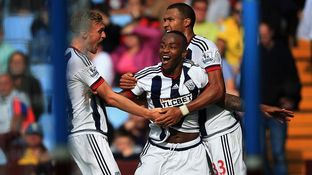 West Brom's Saido Berahino, centre, scored on his return to the starting line-up