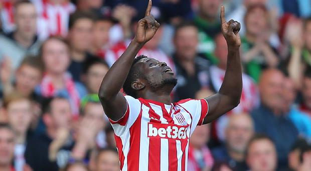 Stoke City's Mame Biram Diouf celebrates as his side earned their first win of the season