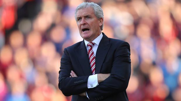 Mark Hughes saw his Stoke side pick up their first league win of the campaign on Saturday