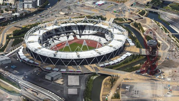 An aerial view of The Olympic Stadium in London.